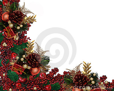 Christmas Holly Berries Garland Border