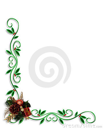 Christmas Holly Border Corner Design Stock Images - Image ...