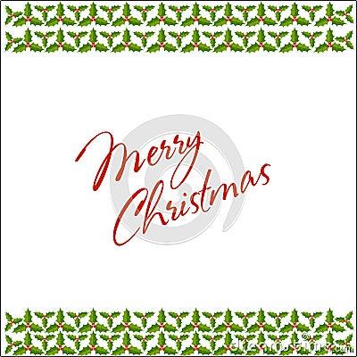 Christmas holly border and frame postcard