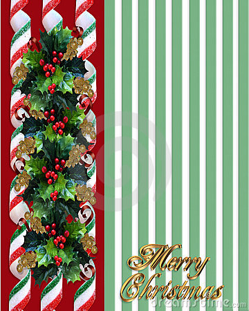 Christmas Holly Border over green stripes