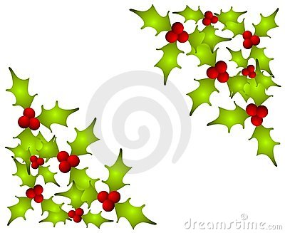 Christmas Holly Leaves Corners