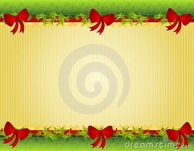 Christmas Holly Red Bows Border