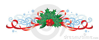 Christmas with holly and ribbons / vector