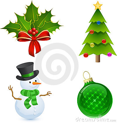 Free Christmas Holly, Tree, Snowman And Bauble Stock Photo - 16950060