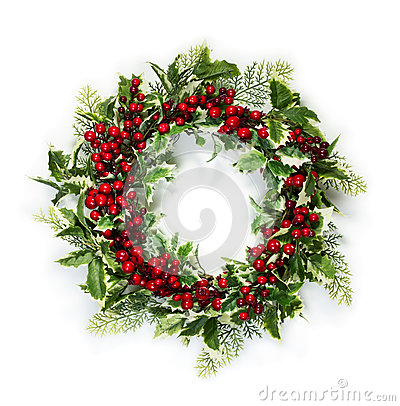 Free Christmas Holly Wreath Stock Images - 61313414