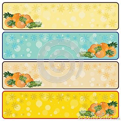 Christmas horizontal banners with mandarins and sp