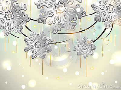 Christmas Horizontal Card with silver snowflakes
