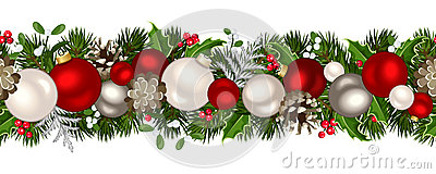 Christmas horizontal seamless background. Vector illustration. Vector Illustration