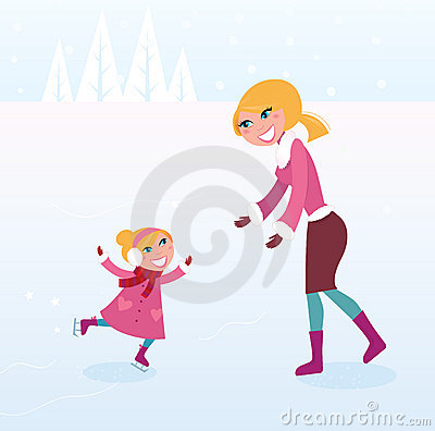 Christmas ice skating: Mother and daughter on ice