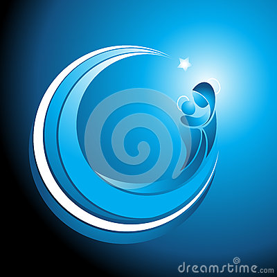 Free Christmas Icon Of Mary With Baby Jesus Royalty Free Stock Photography - 40022467