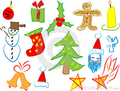 Christmas icons draw by a child