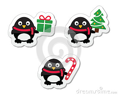 Christmas icons with pinguins