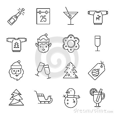 Free Christmas Icons - Santa Claus, Elf And Champagne Royalty Free Stock Photography - 102615007