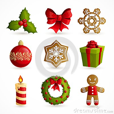 Free Christmas Icons Set Royalty Free Stock Photo - 45840055