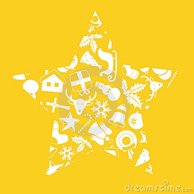 Christmas icons in star shape