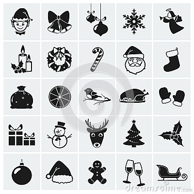 Free Christmas Icons. Vector Illustration. Royalty Free Stock Photography - 34016277