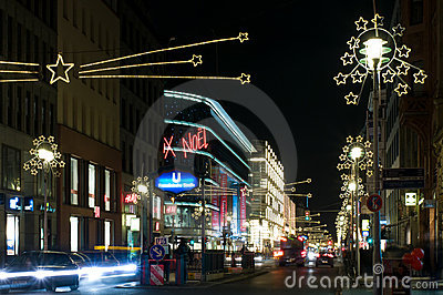 Christmas illuminations Friedrichstrasse Editorial Stock Photo