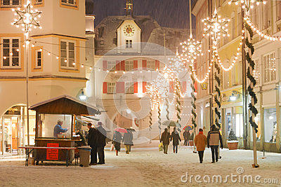 Christmas Illuminations in a Medieval Town Square Editorial Image