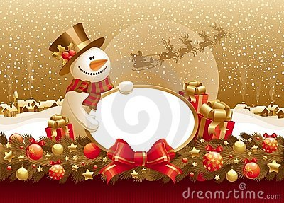 Christmas illustration with snowman, gift & frame