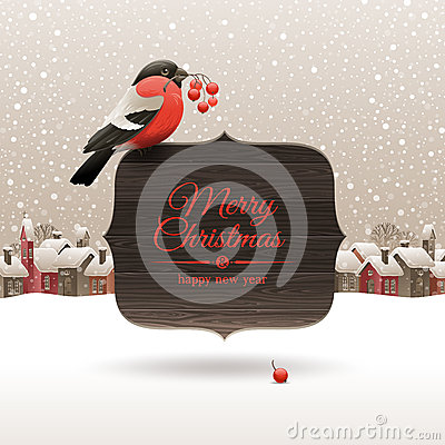 Free Christmas Illustration With Bullfinch Stock Images - 27585024