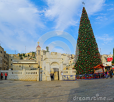 Free Christmas In Mary S Well Square, Nazareth Royalty Free Stock Image - 63947836