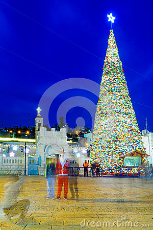 Free Christmas In Mary S Well Square, Nazareth Royalty Free Stock Photography - 63948707
