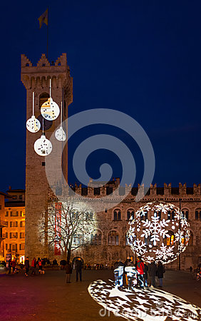 Free Christmas In Trento, A Charming Old Town With The Christmas Lights. Royalty Free Stock Photo - 97840355