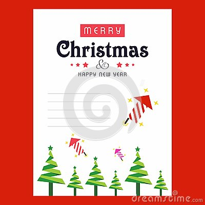 Free Christmas Invitation Card With Tree Abd Red Background Royalty Free Stock Photo - 120627615