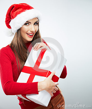 Christmas isolated woman portrait hold christmas gift.