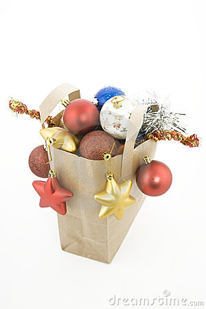 Christmas items in shopping  bag