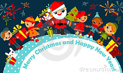 Christmas kids. greeting card