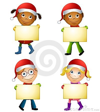 Christmas Kids Holding Signs