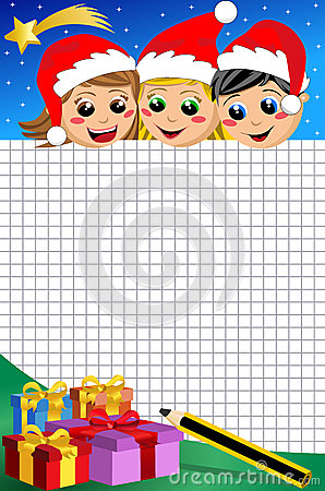 Christmas Kids Looking at Empty Squared Sheet