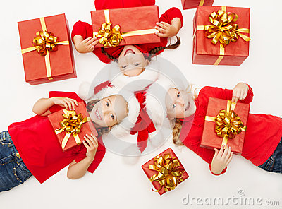 Christmas helpers kids with red presents gift box