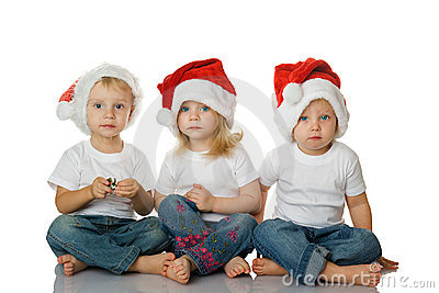 Christmas kids in Santa hat