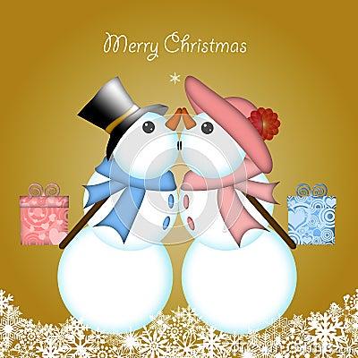 Christmas Kissing Snowman Couple Giving Gifts
