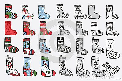 Christmas knitted stockings doodle hand sketch stock vector image 47481513 - Autumn plowing time all set for winter ...