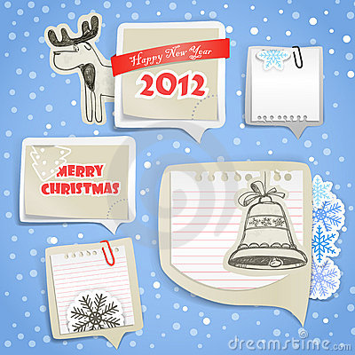 Christmas labels set with hand-drawn pictures