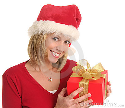 Christmas lady and a gift