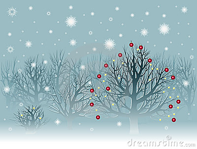 Christmas landscape with snowbound trees