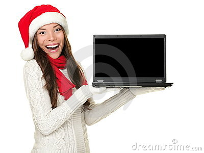 Christmas laptop computer woman excited