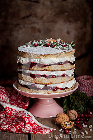 Free Christmas Layered Cake With Raspberry Jam And Whipped Cream Stock Photos - 78868663