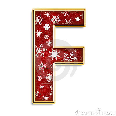 Christmas letter F in red