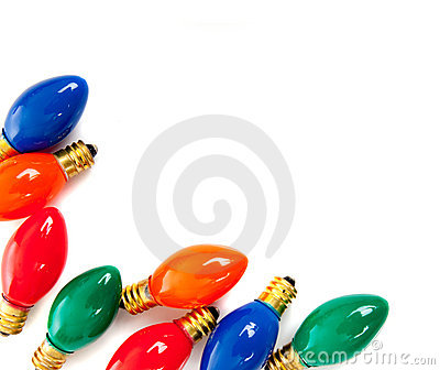 Christmas light bulbs on white