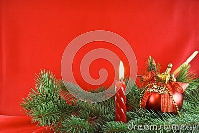 Christmas light and red ball