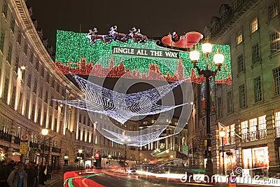 Christmas lights along Regent Street Editorial Stock Image