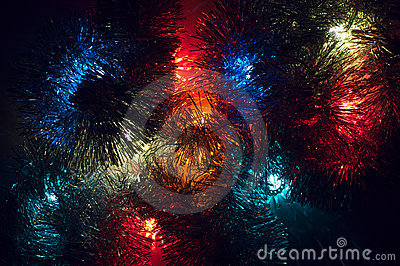 Christmas lights background with various colours