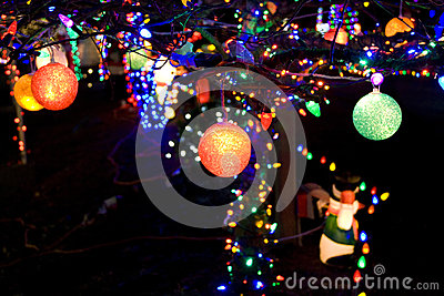 Christmas lights balls background