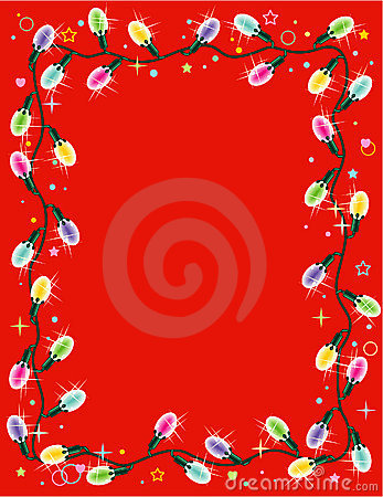Christmas lights border or frame on red