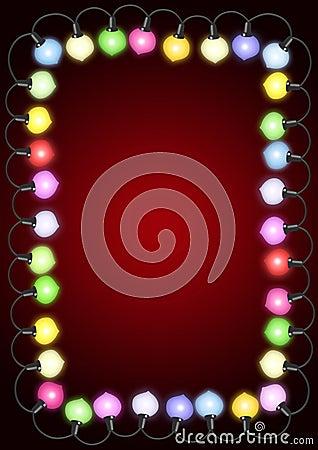 Christmas lights on card